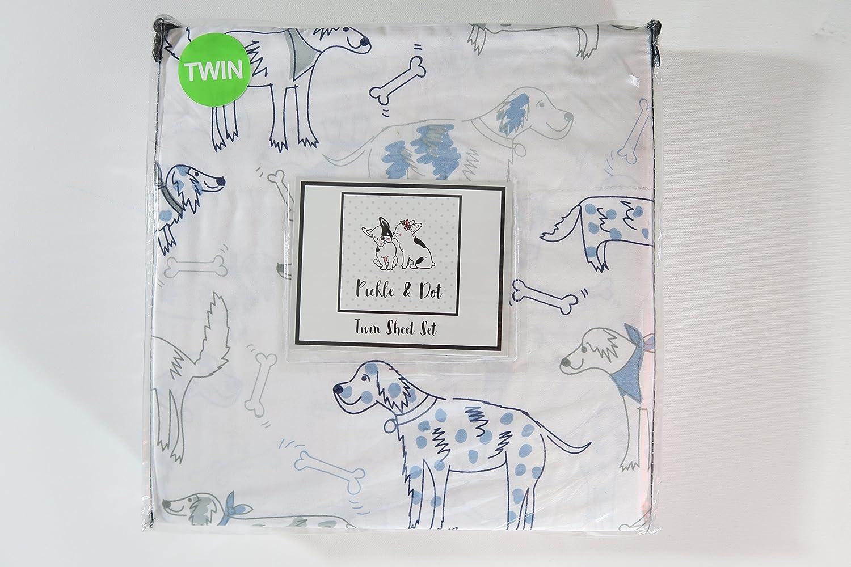 Pickle /& Dot Childrens Twin Sheet Set Blue White Grey