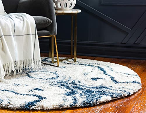 Unique Loom Hygge Shag Collection Abstract Plush Cozy Blue Round Rug 5 0 x 5 0