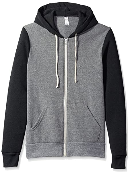 583b05e5 Alternative - Rocky Unisex Colorblocked Eco Fleece Hooded Full-Zip - 32023  - Eco Grey