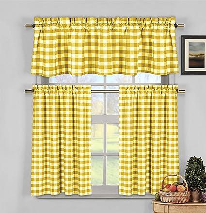 HOME MAISON - Kingston Checkered Kitchen Window Curtain Tier Valance Set, 2 29 x 36 | 1 58 x 15, Yellow & White