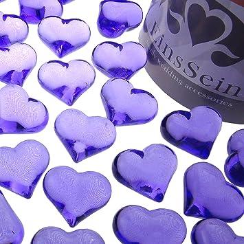 Einssein 30x Dekosteine Funkelnde Herzen 22mm Lila Dekoration