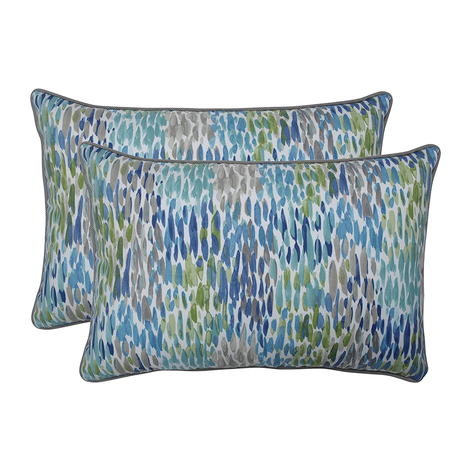 Set of 2 Pillow Perfect Outdoor Blue Indoor Make It Rain Cerulean Over-sized Rectangular Throw Pillow