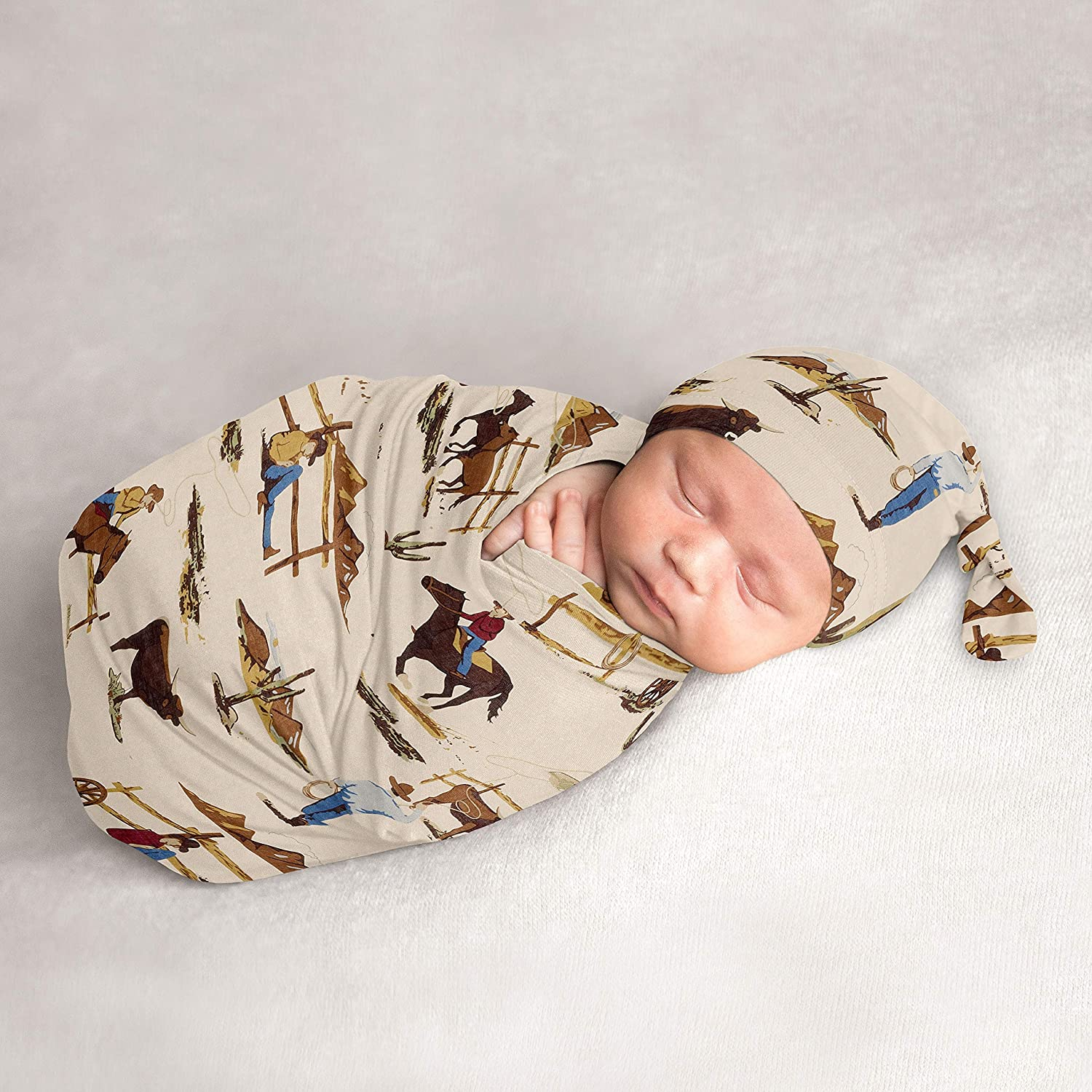 Sweet Jojo Designs Wild West Cowboy Baby Boy Cocoon and Beanie Hat 2pc Set Jersey Stretch Knit Sleeping Bag for Infant Newborn Nursery Sleep Wrap Sack - Red, Blue, Tan Western Southern Country Horse