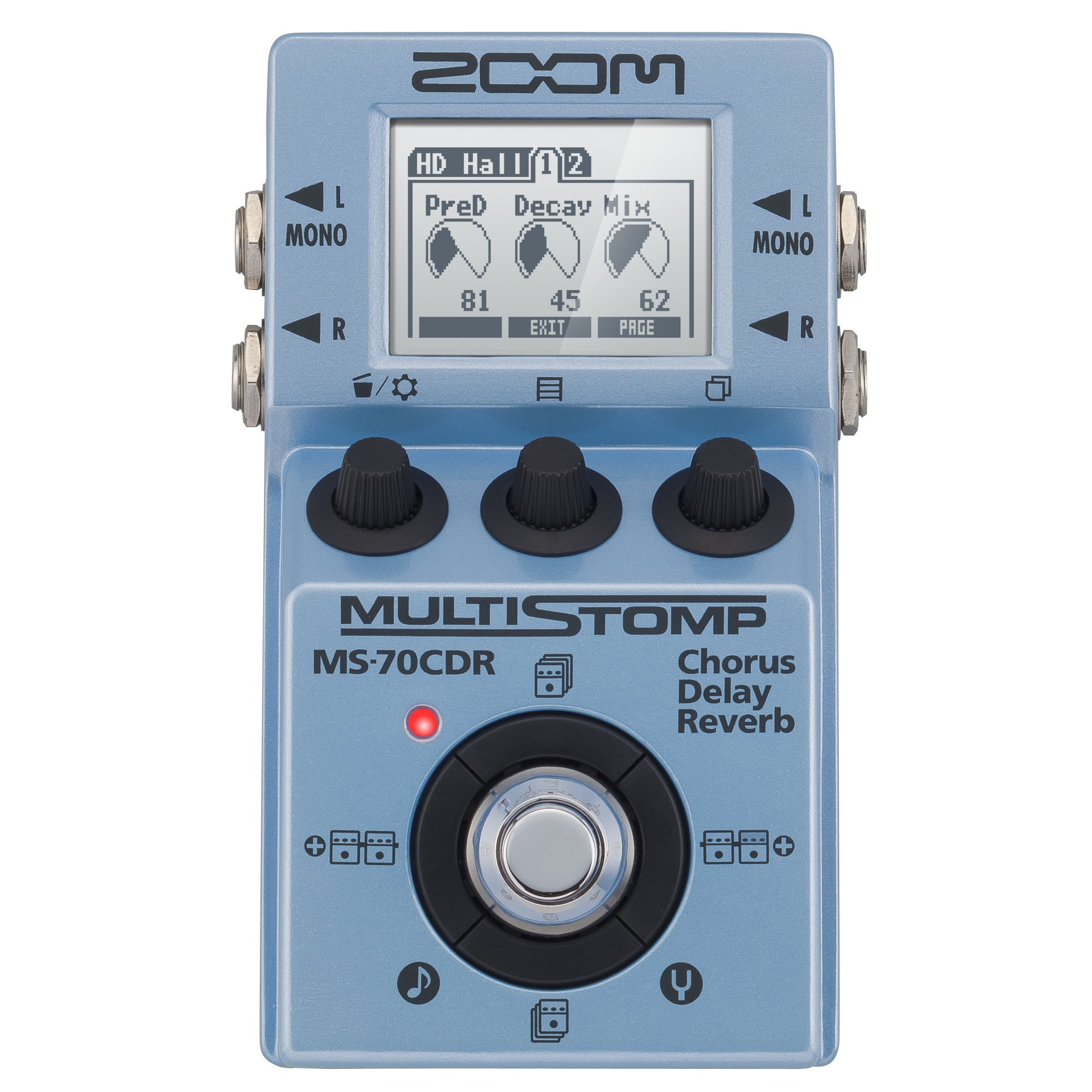 Zoom MS-70CDR MultiStomp Chorus/Delay/Reverb Pedal Along with Cables and FiberTique cleaning Cloth Accessory Bundle