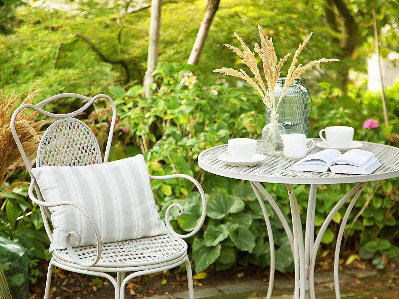 Beliani Garten Bistro Set Balkon Terasse 2er grau Cilento