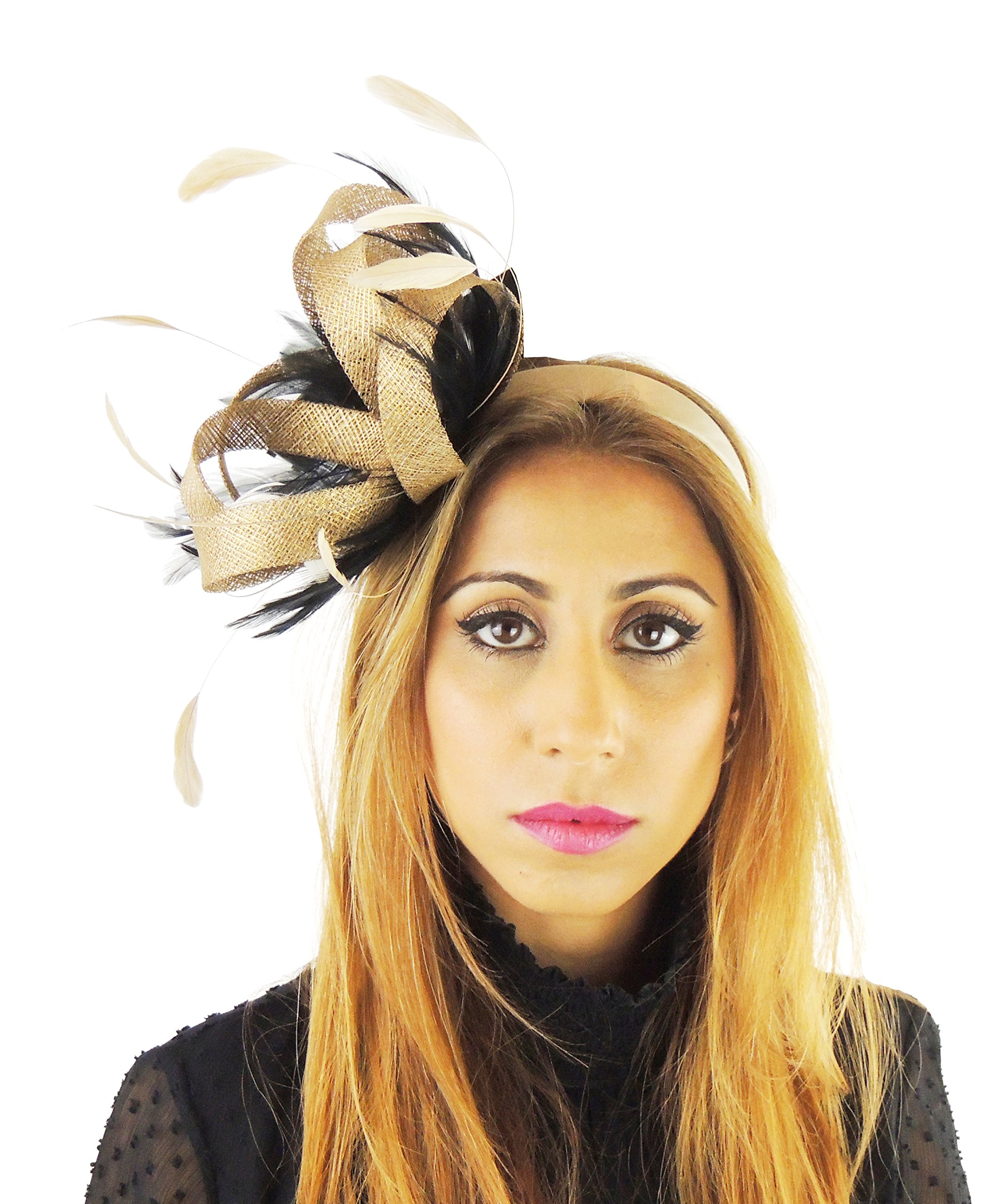 Hats By Cressida Ladies Wedding Races Ascot Derby Fascinator Headband Black Gold by Hats By Cressida