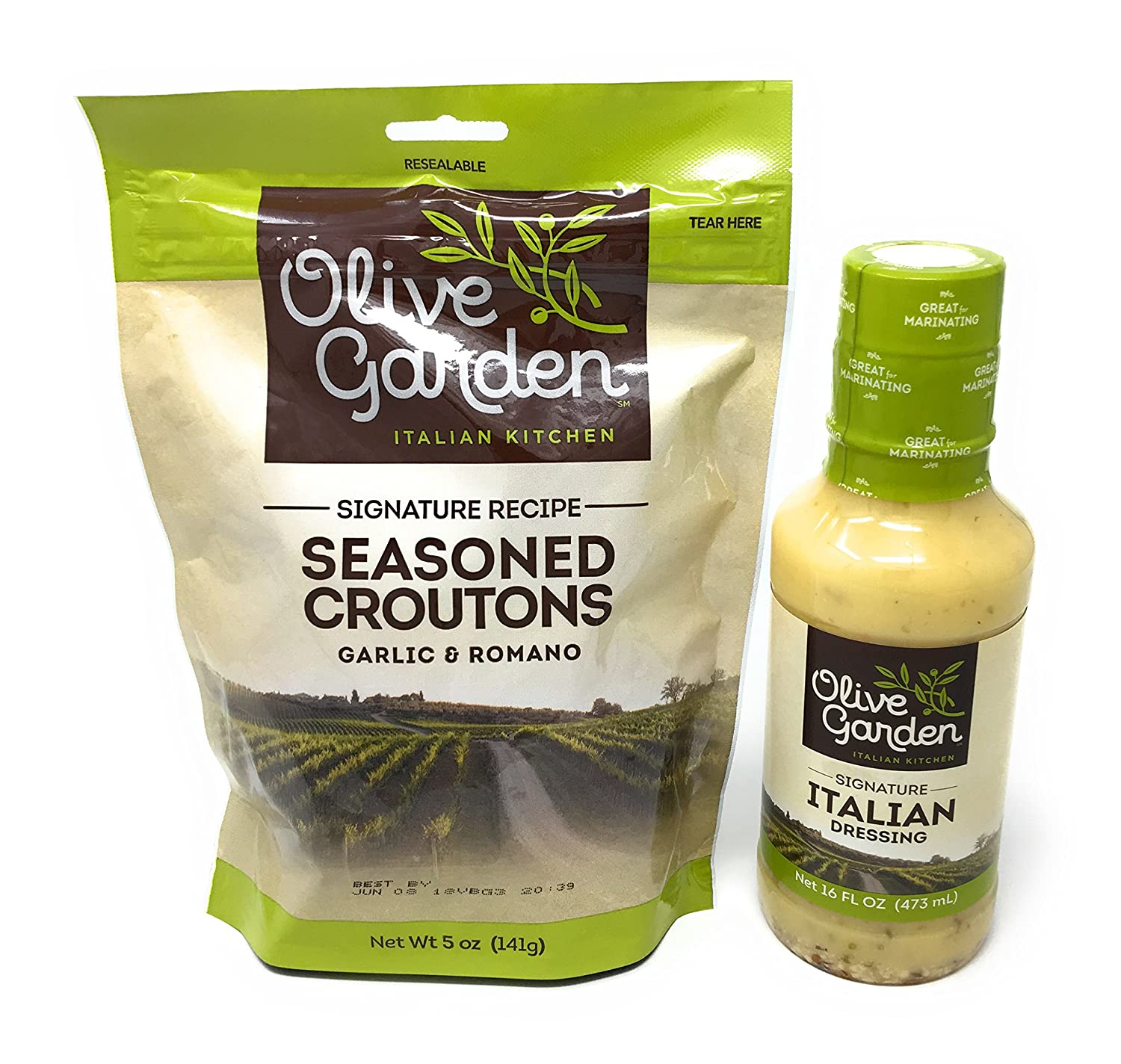 Olive Garden's Signature Italian Salad Dressing and Seasoned Croutons - Bundle
