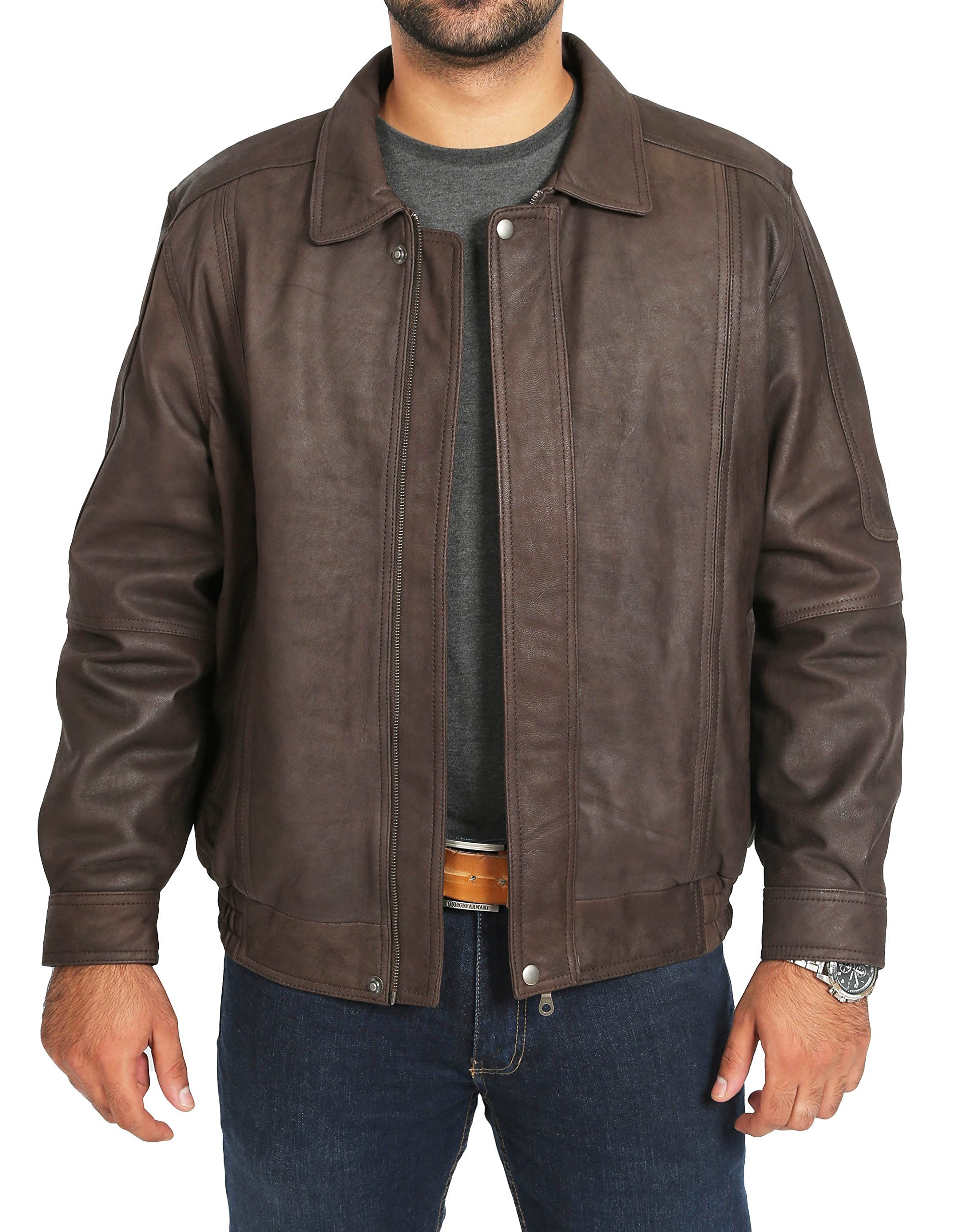 Mens Soft Brown Nubuck Bomber Leather Jacket Classic Casual Blouson Coat - Keith (Large) by A1 FASHION GOODS