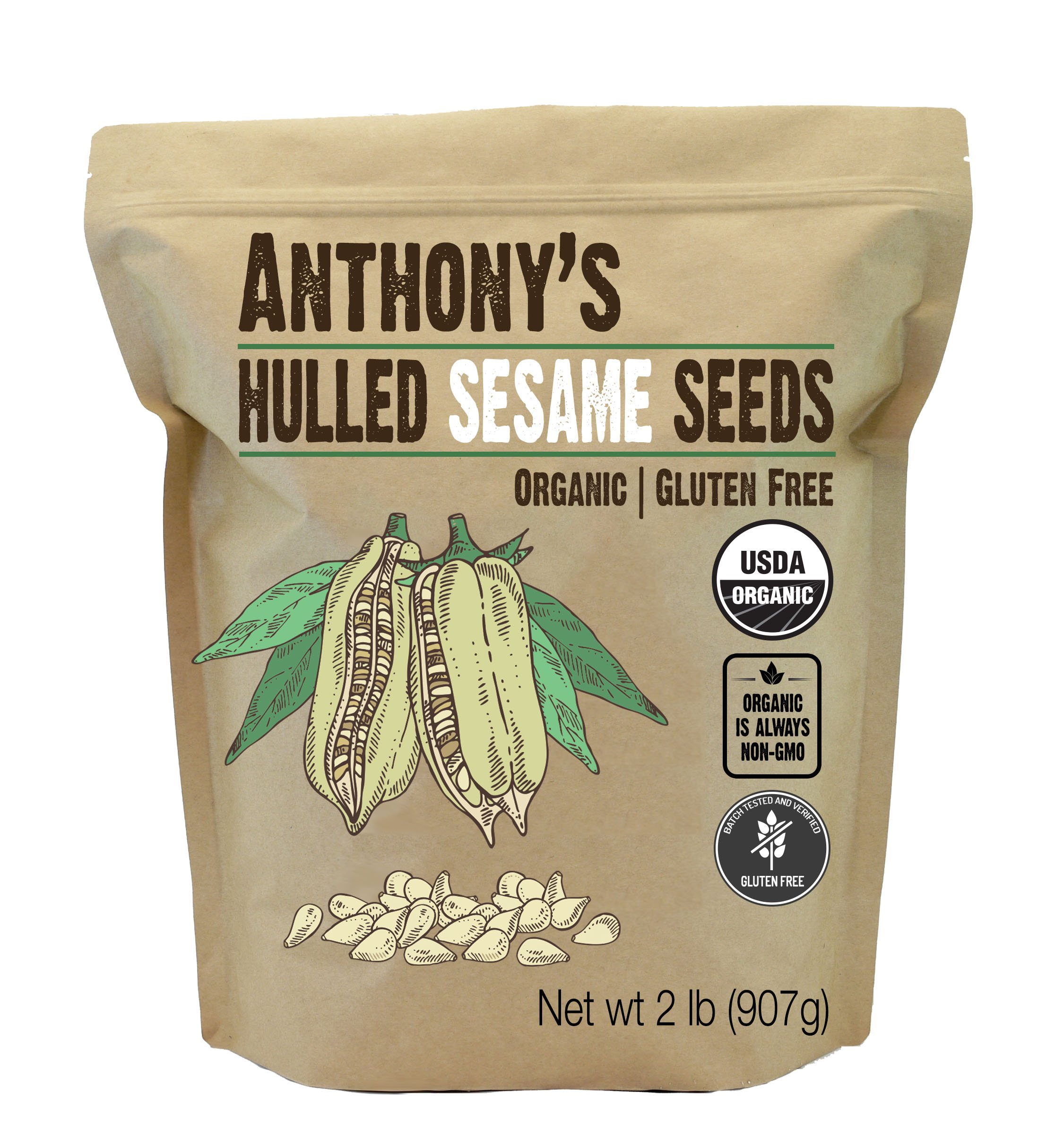 Anthony's Organic Hulled Sesame Seeds (White) (2lb), Gluten Free, Non-GMO