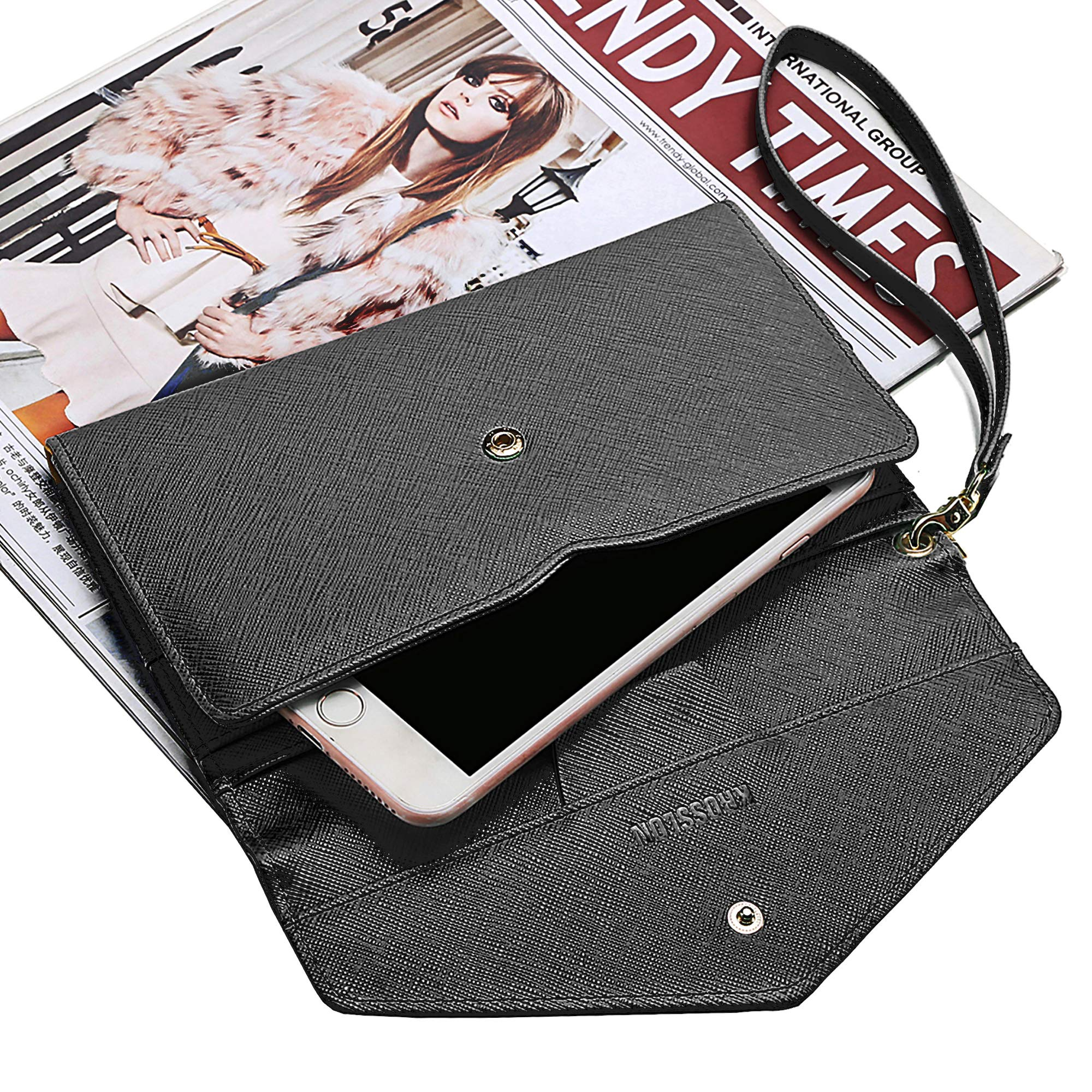 Krosslon Travel Passport Wallet for Women Rfid Wristlet Slim Family Document Holder, 1# Black by KROSSLON (Image #2)