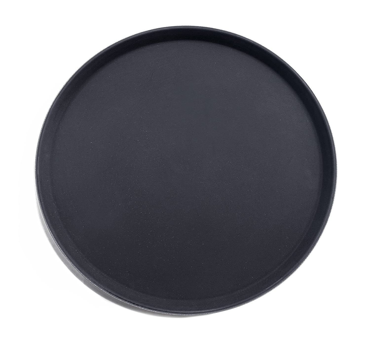 New Star 24913 NSF Plastic Round Rubber Lined Non-Slip Tray, 11-Inch, Black New Star Foodservice