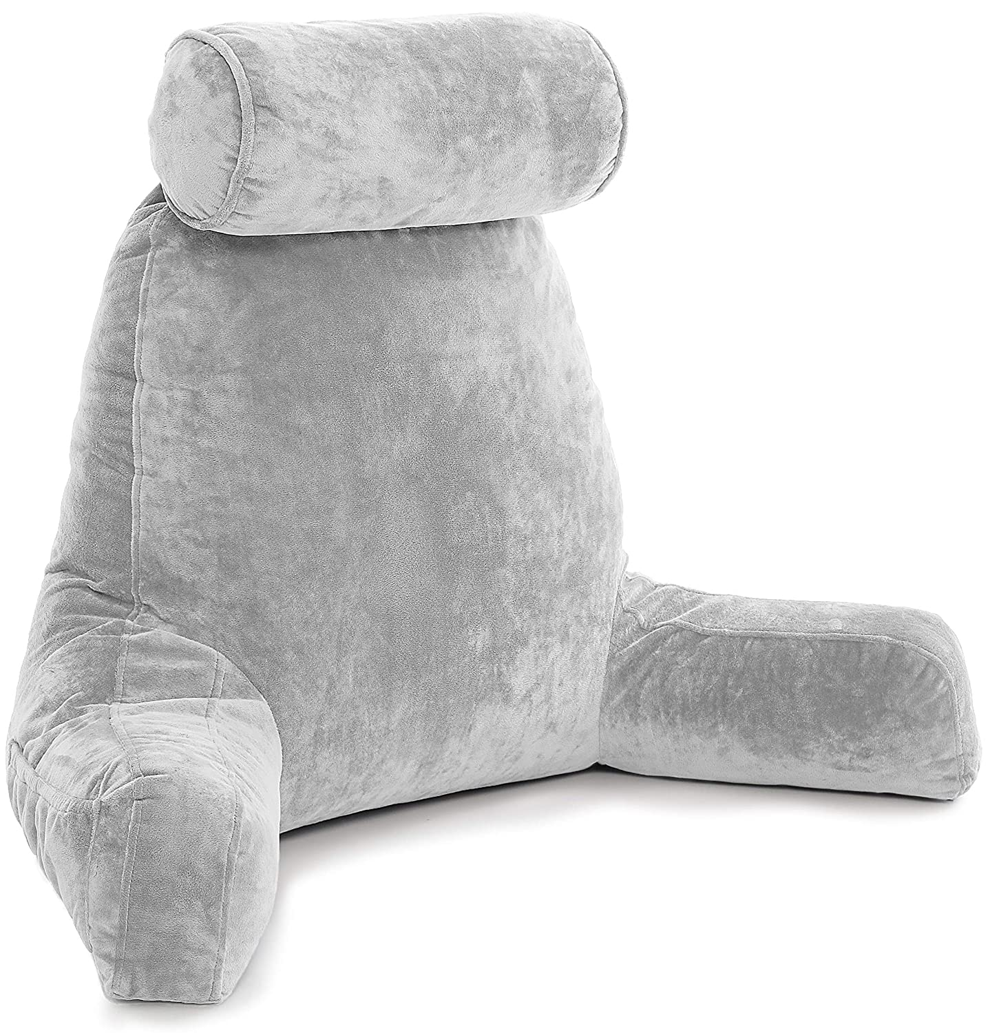 Husband Pillow - Light Grey, Big Backrest Reading Bed Rest Pillow with Arms, Plush Memory Foam Fill, Remove Neck Roll Off Bungee, Change Covers, Zipper On Shell of Bed Chair for Adjustable Loft