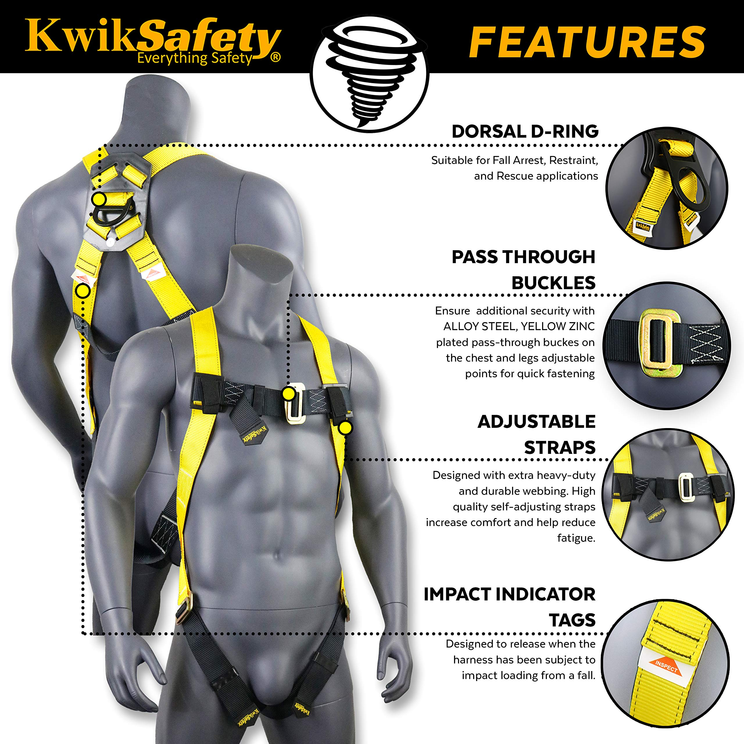 KwikSafety (Charlotte, NC) 4 PACK TORNADO 1D Fall Protection Full Body Safety Harness | OSHA ANSI Industrial Roofing Personal Protection Equipment | Construction Carpenter Scaffolding Contractor by KwikSafety (Image #4)
