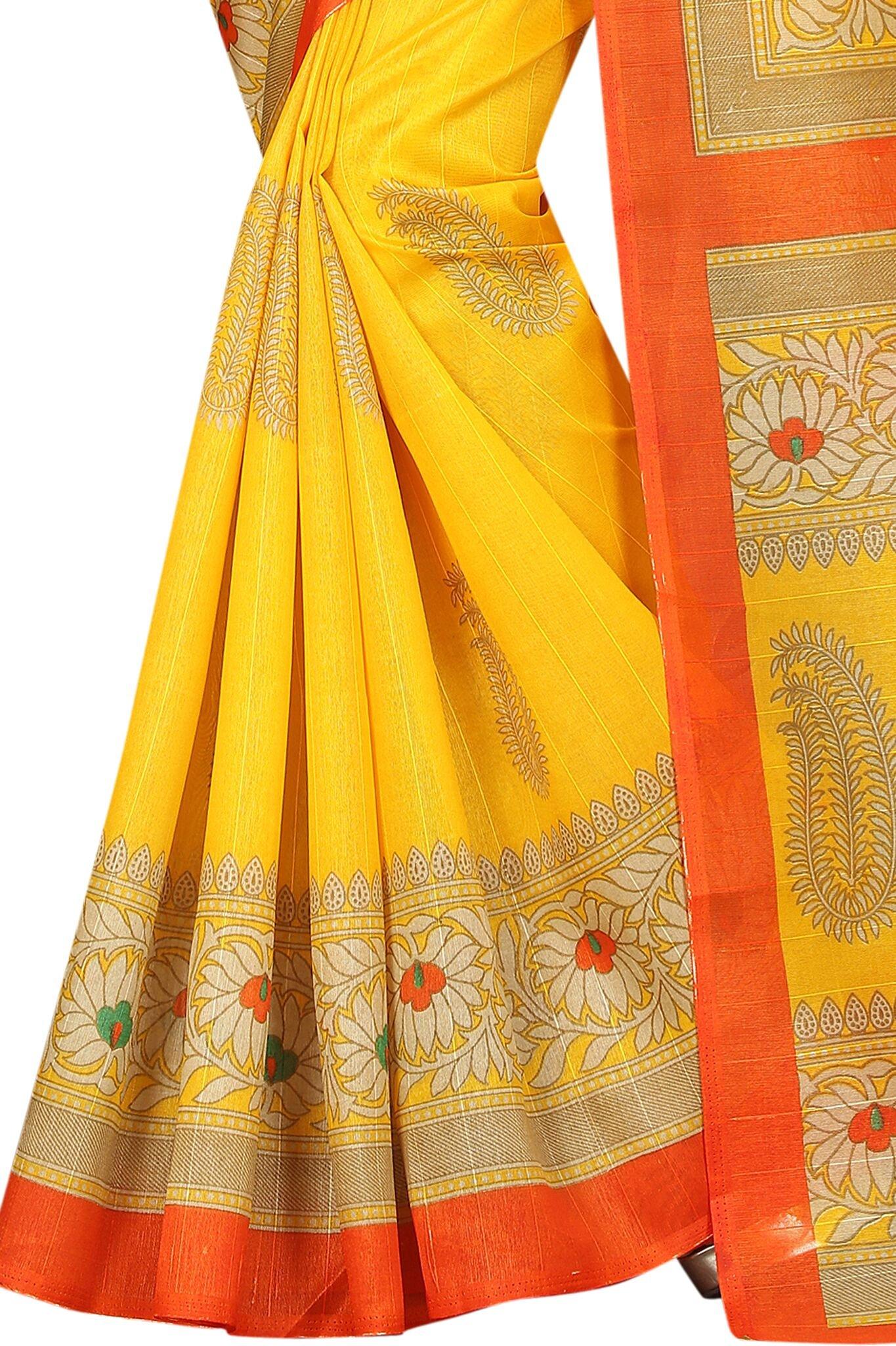 Shonaya Women`S Bhagalpuri Silk Printed Saree with Unstitched Blouse Piece (Yellow) by Shonaya (Image #2)