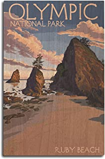 product image for Lantern Press Olympic National Park, Washington - Ruby Beach (10x15 Wood Wall Sign, Wall Decor Ready to Hang)