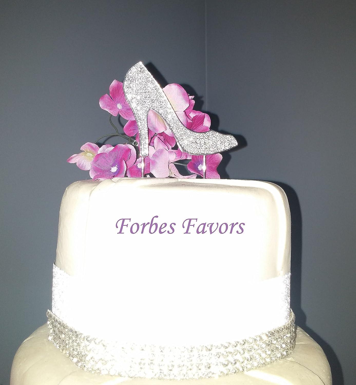 Marvelous Amazon Com Silver Rhinestone Stiletto Shoe Cupcake Or Cake Topper Funny Birthday Cards Online Kookostrdamsfinfo