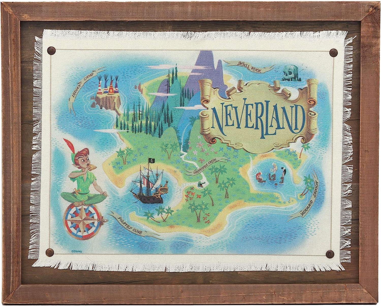 Open Road Brands Peter Pan Neverland Map Framed Wood Wall Décor
