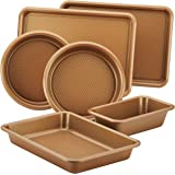 Ayesha Curry Nonstick Bakeware Set with Nonstick Cookie Sheet, Cake Pans, Baking Pan and Bread Pan - 6 Piece, Copper…