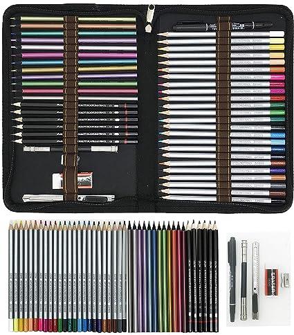 ZZONEART Lápices de Colores para Dibujo Profesional,Set Dibujo Artistico - 48 Colores únicos para Libro de Colorear para Adultos - Regalo Ideal para Artistas, Adultos y Niño: Amazon.es: Oficina y papelería