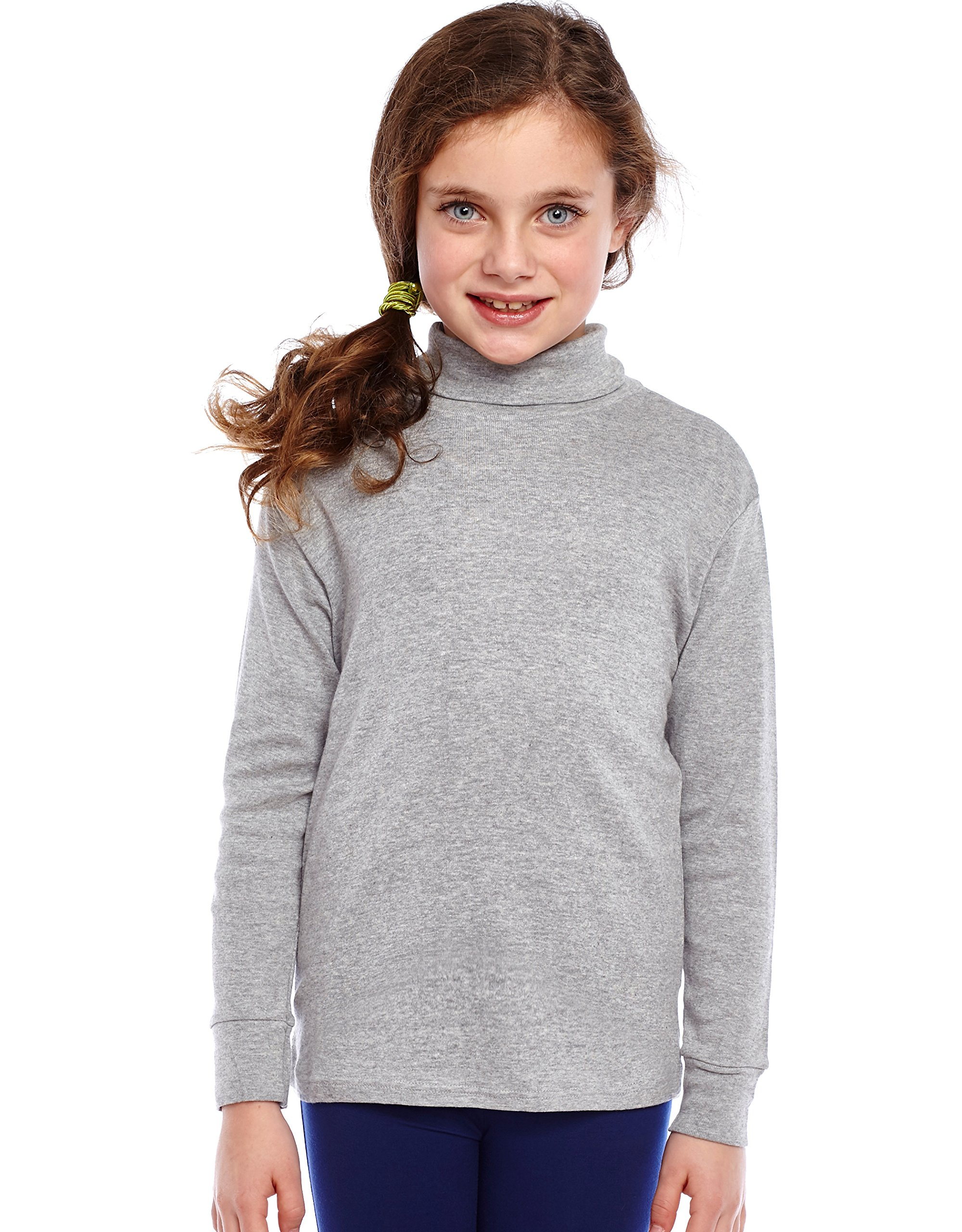 Leveret Solid Turtleneck 100% Cotton (8 Years, Light Grey) by Leveret (Image #3)