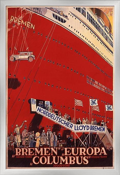 Amazon.com: Norddeutscher Lloyd Bremen - Bremen Europa Columbus Vintage Poster (artist: Steiner) Germany c. 1930 (12x18 Giclee Art Print, Gallery Framed, ...