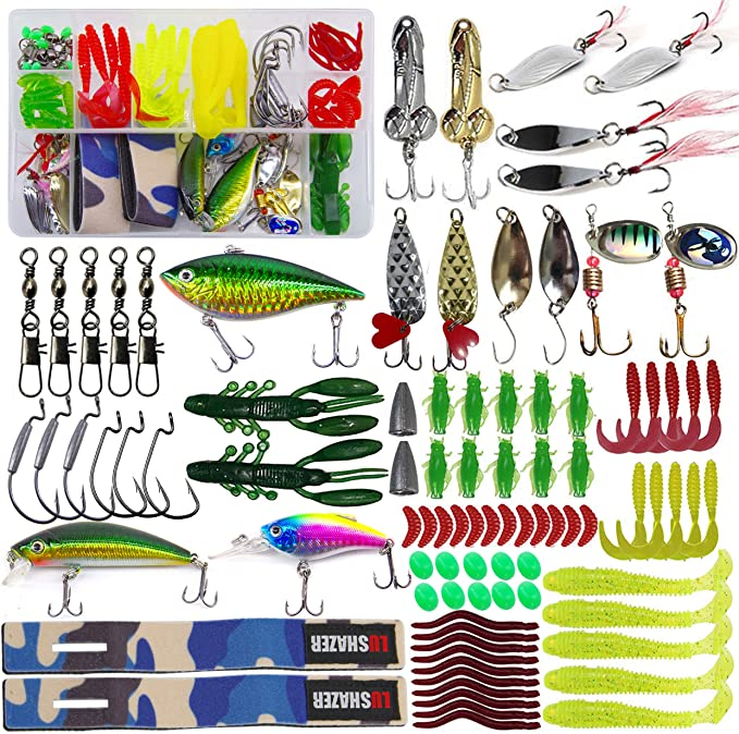 Fishing Lures Kit Bait Tackle Box Set Including Soft Plastic Worms Crankbait Jigs Spoon Lures Fish Shape Lures Topwater Lures For Saltwater Freshwater Fishing Lure Tackle Sports Outdoors Amazon Com