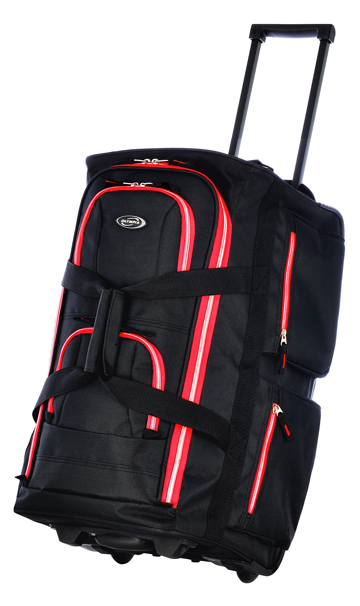 Olympia 22'' 8 Pocket Rolling Duffel, Black+Red, One Size