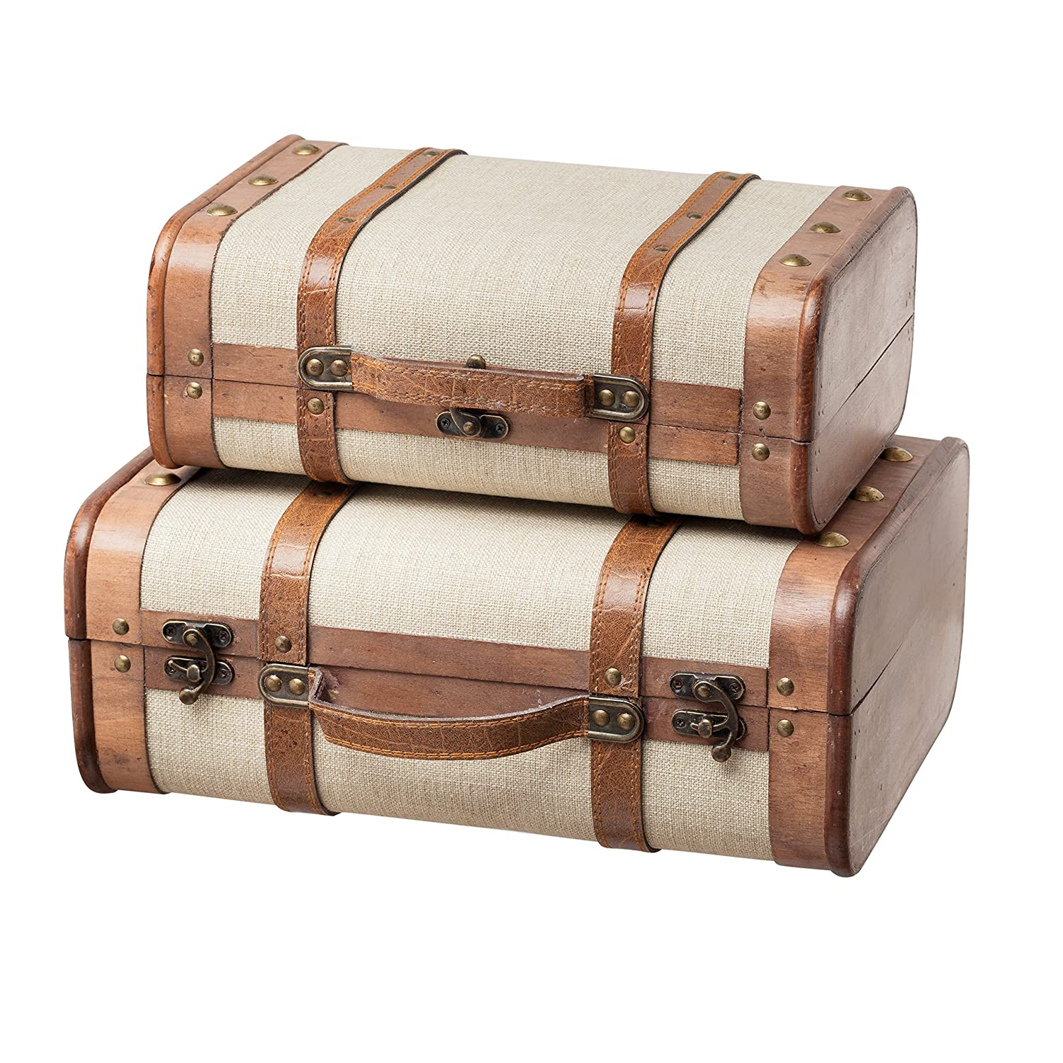 SLPR Decorative Suitcase with Straps (Set of 2, Beige) | Old-Fashioned Antique Vintage Style Nesting Trunks for Shelf Home Decor Birthday Parties Wedding Decoration Displays Crafts Photoshoots