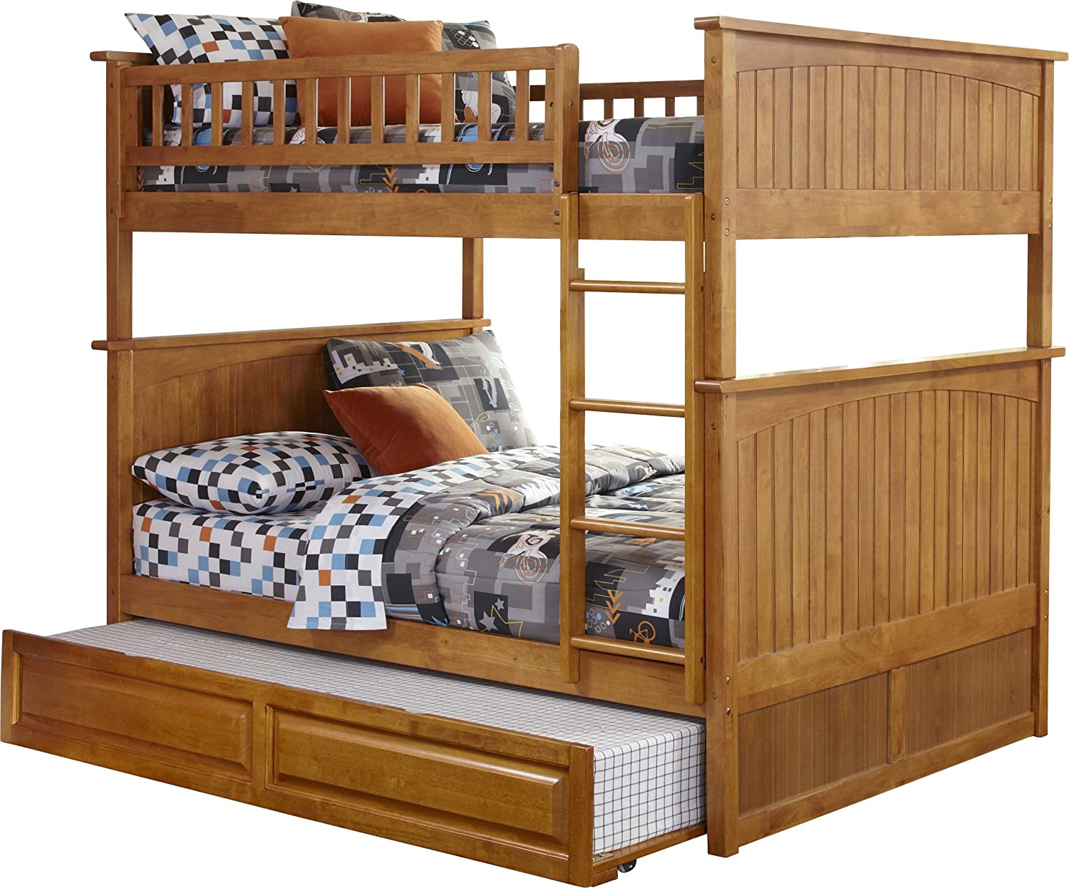 amazoncom nantucket bunk bed with raised panel trundle bed full over full antique walnut kitchen u0026 dining