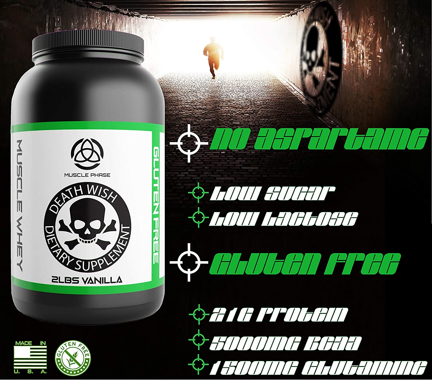 MUSCLE WHEY PROTEIN by Death Wish Supplements Grass Fed Low Fat Low Sugar Protein for Men Women Meal Replacement for Weight Loss Lean Protein 21g Vanilla Chocolate Flavor Chocolate