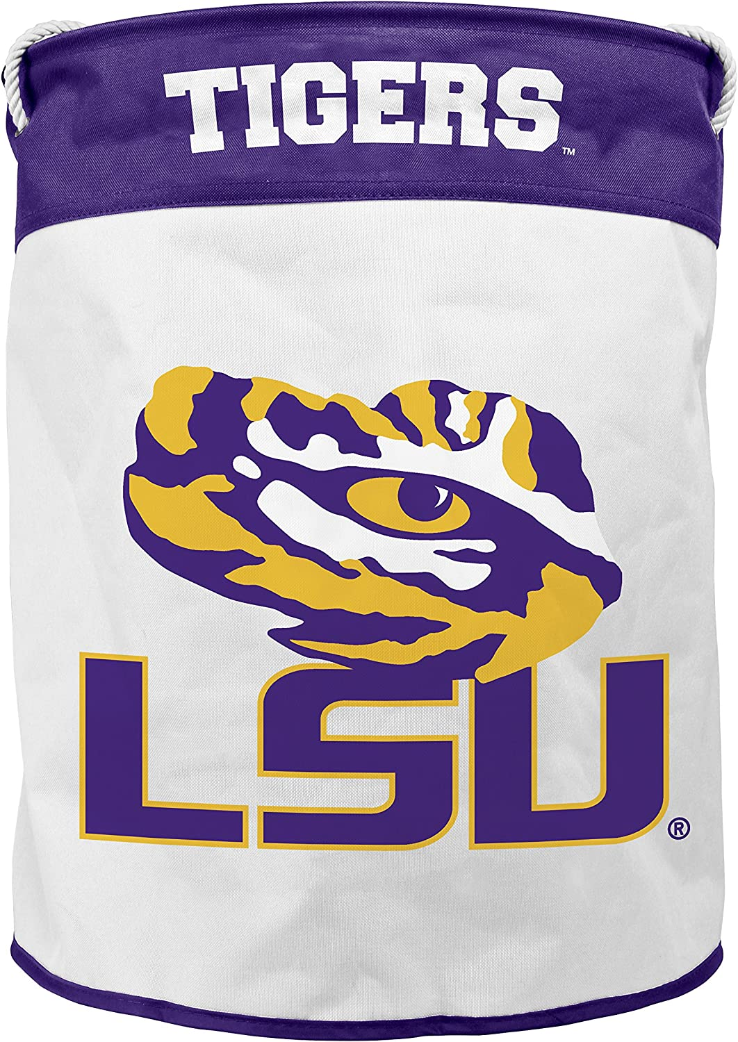 NCAA Louisiana State Tigers Canvas Laundry Basket with Braided Rope Handles