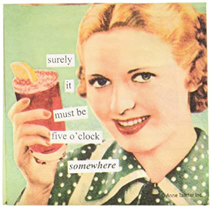 Amazon.com | Paperproducts Design 4273 Anne Taintor Beverage/Cocktail Napkin, 5'o Clock Somewhere: Witty Gifts: Cocktail Napkins
