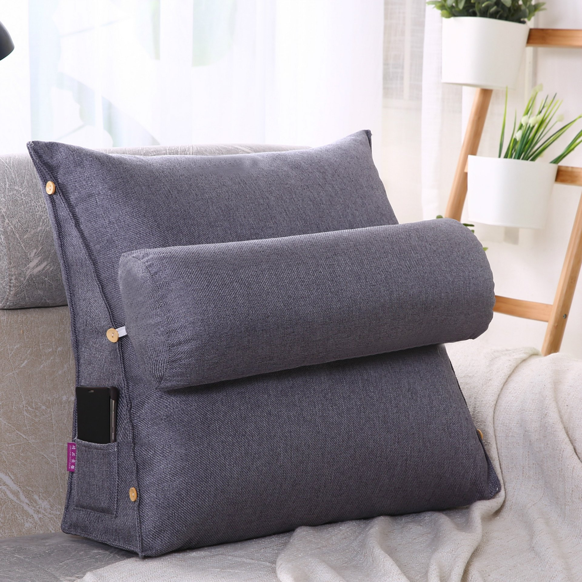 LUOTIANLANG Office sofa cushion pillow waist pillow for pregnant women Home Furnishing ornaments triangle comfortable cushion,Deep ash,50x200x20cm