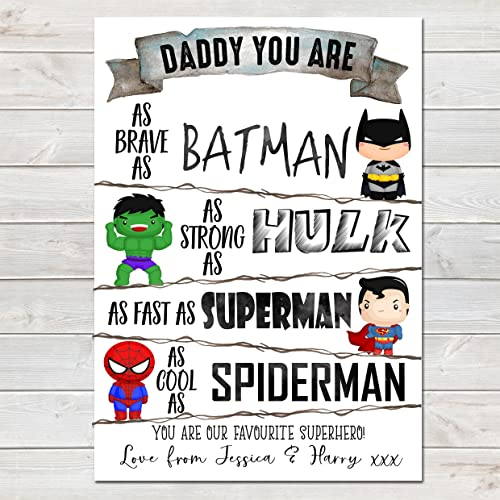 8bcbce72d Fathers Day Print Daddy You Are a Superhero Personalised Poster Gift for Dad:  Amazon.co.uk: Handmade