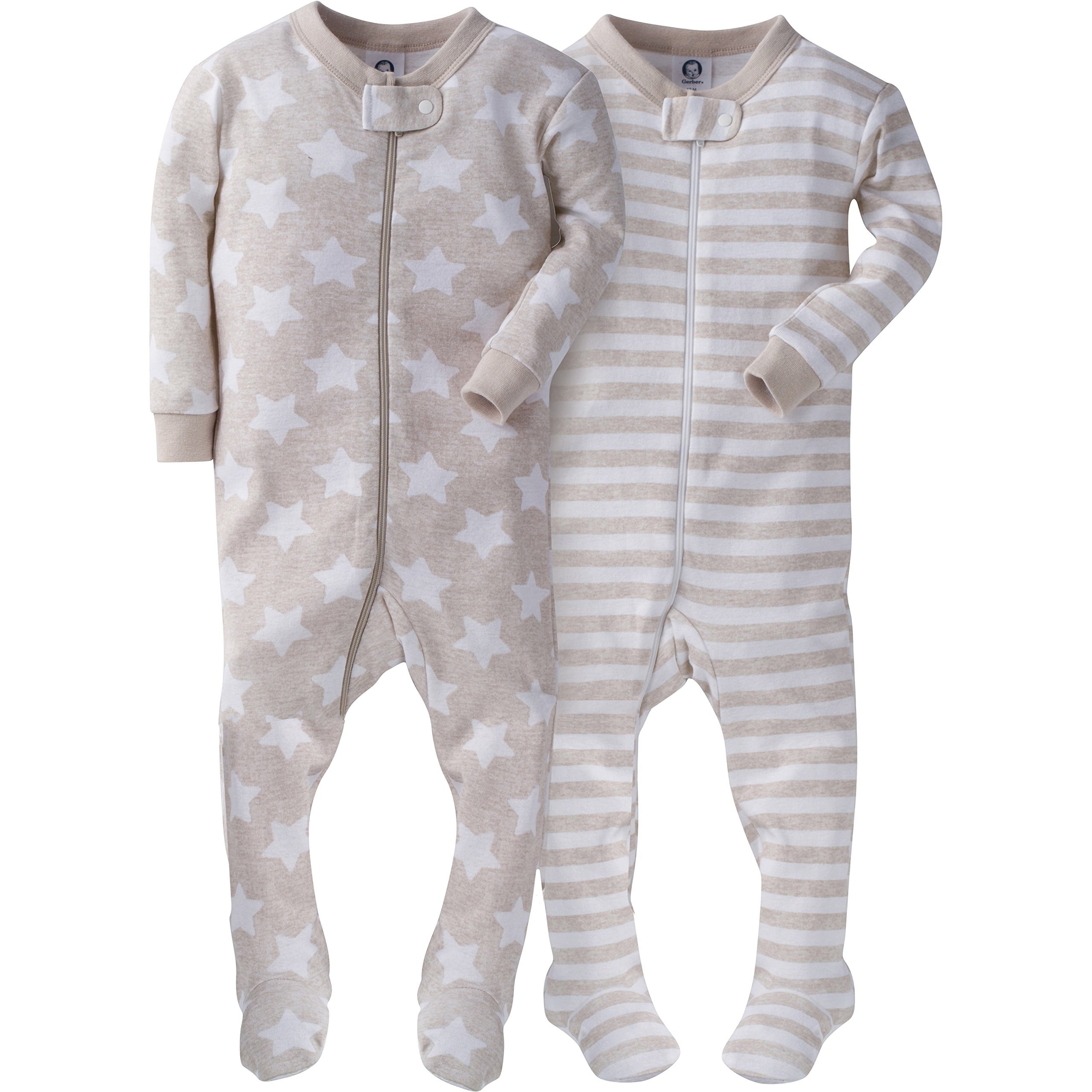 Gerber Baby Boys' 2 Pack Footed Sleeper, Stripes/Stars, 18 Months
