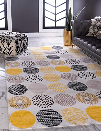 Unique Loom Metro Collection Abstract Cirlces Modern Geometric Cream Area Rug 9 0 x 12 0