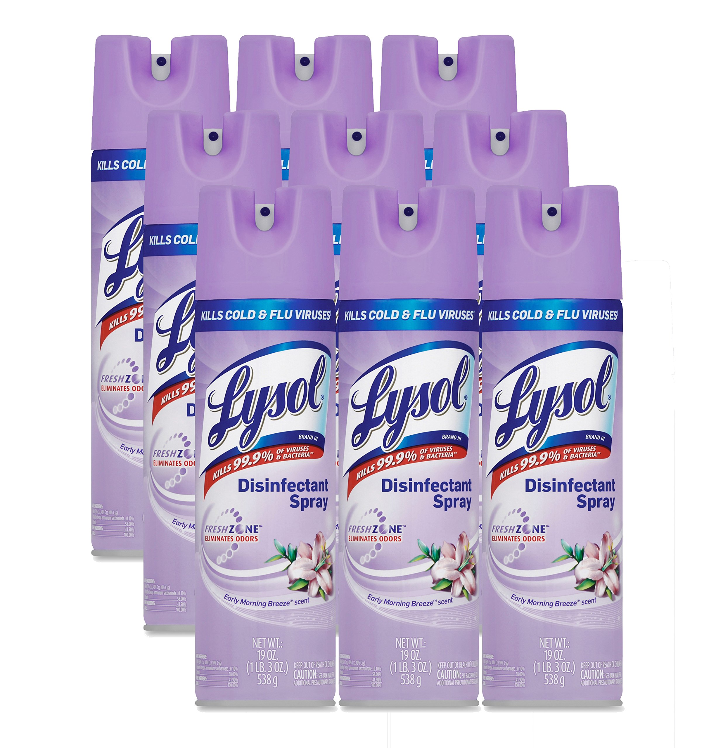 LYSOL Brand 80834CT Disinfectant Spray, Early Morning Breeze, 19oz Aerosol (Case of 12)