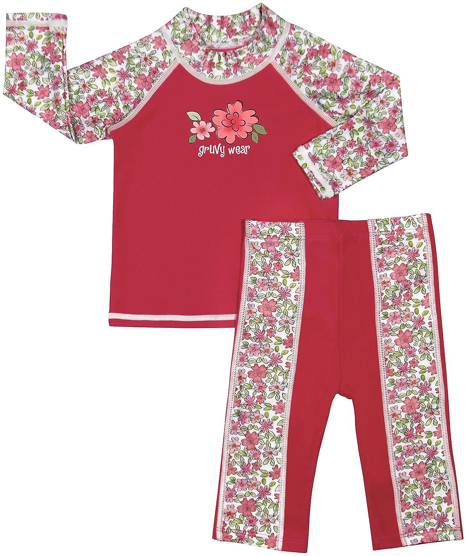 grUVywear Baby | Toddler Girl Rash Guard Long Sleeve Swimsuit Set 2 Piece UPF 50