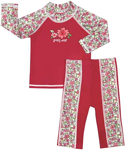 00e88d7203 grUVywear UV Sun Protective Baby Girl Long Sleeve Rashguard Shirt & Long  Pant UPF 50
