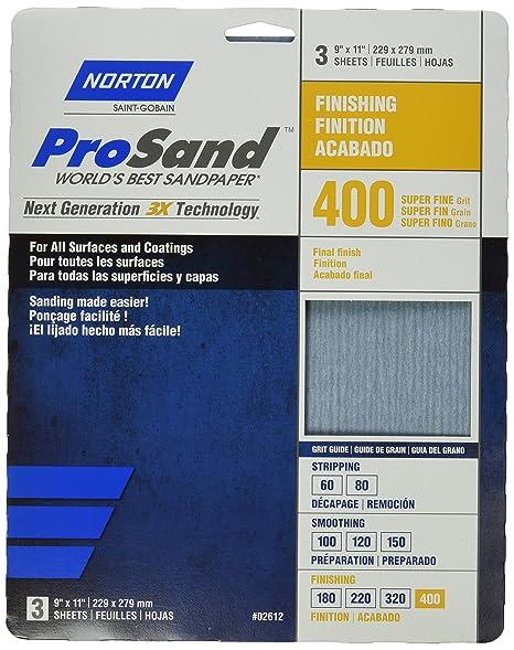 Narzędzia Majsterkowanie 3-Pack Norton 02612 9 X 11-Inch 400 Grit 3X High Performance Sheets
