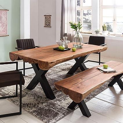 FineBuy Esszimmertisch 200 x 100 x 77 cm Akazie Landhaus-Stil Voll-Holz |  Design Esstisch rechteckig | Tisch für Esszimmer Baumstamm | Küchentisch 8  ...