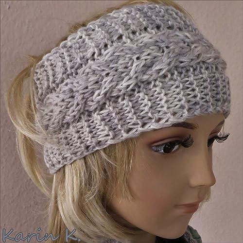 Stirnband in Wollweiß, Beige und Grau im Farbverlauf, gestrickt im ...
