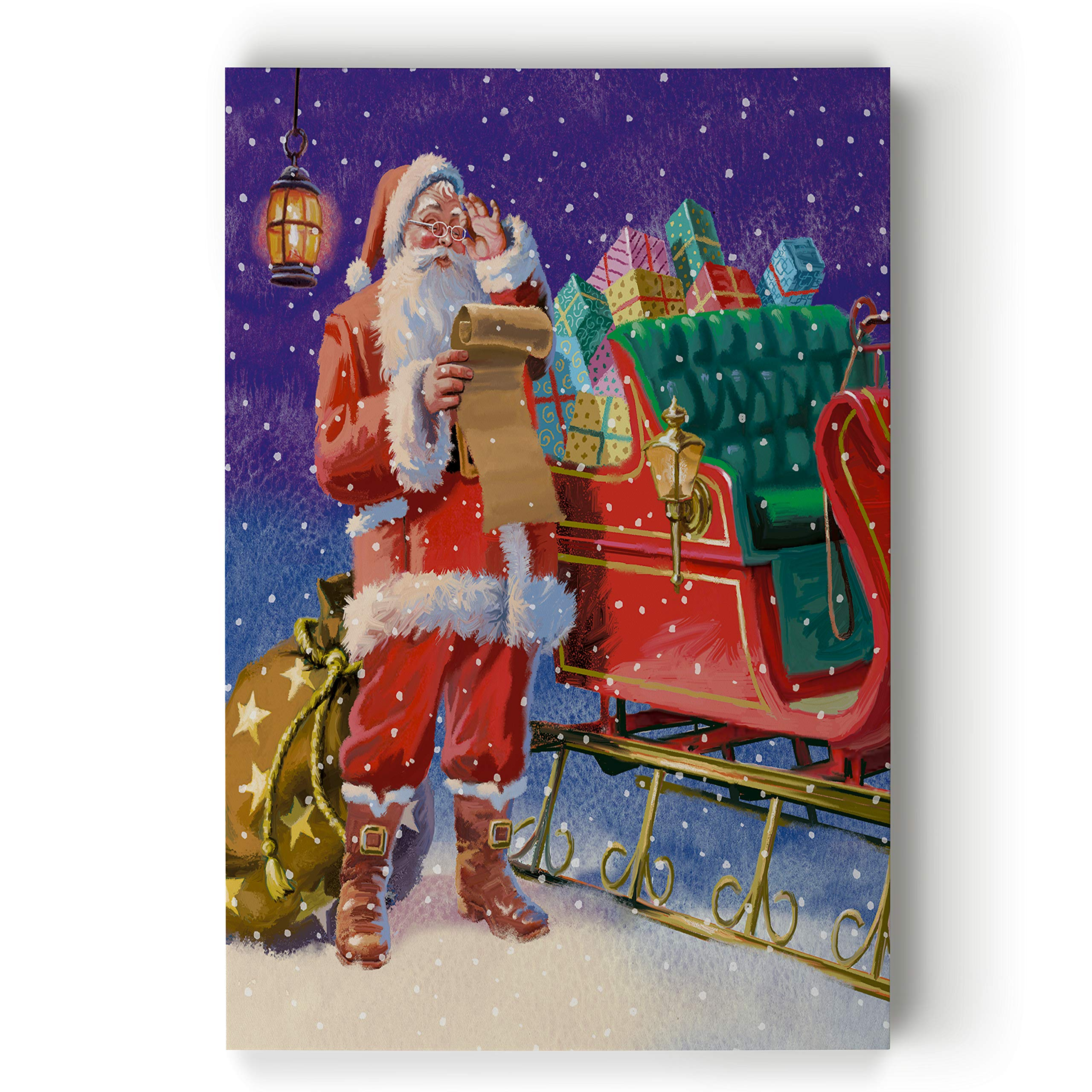 Renditions Gallery Last Minute Preparations by Victor McLindon Gallery Wrapped Canvas Christmas Wall Art, 36x48 by Renditions Gallery