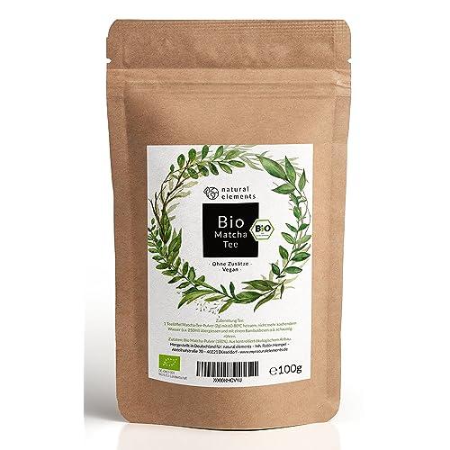 Bio Matcha-Tee Pulver 100g – Echter Bio-Matcha (DE-ÖKO-001) - Ohne Zusätze, rein natürlich, 100% Bio & im wiederverschließbaren Beutel - Perfekt für Tee, Matcha-Latte, Matcha-Smoothies und mehr.