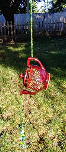 Cascading Japanese Teapot Beaded Can Hanging Can Garden Decor Patio Decor  Outside Decorations