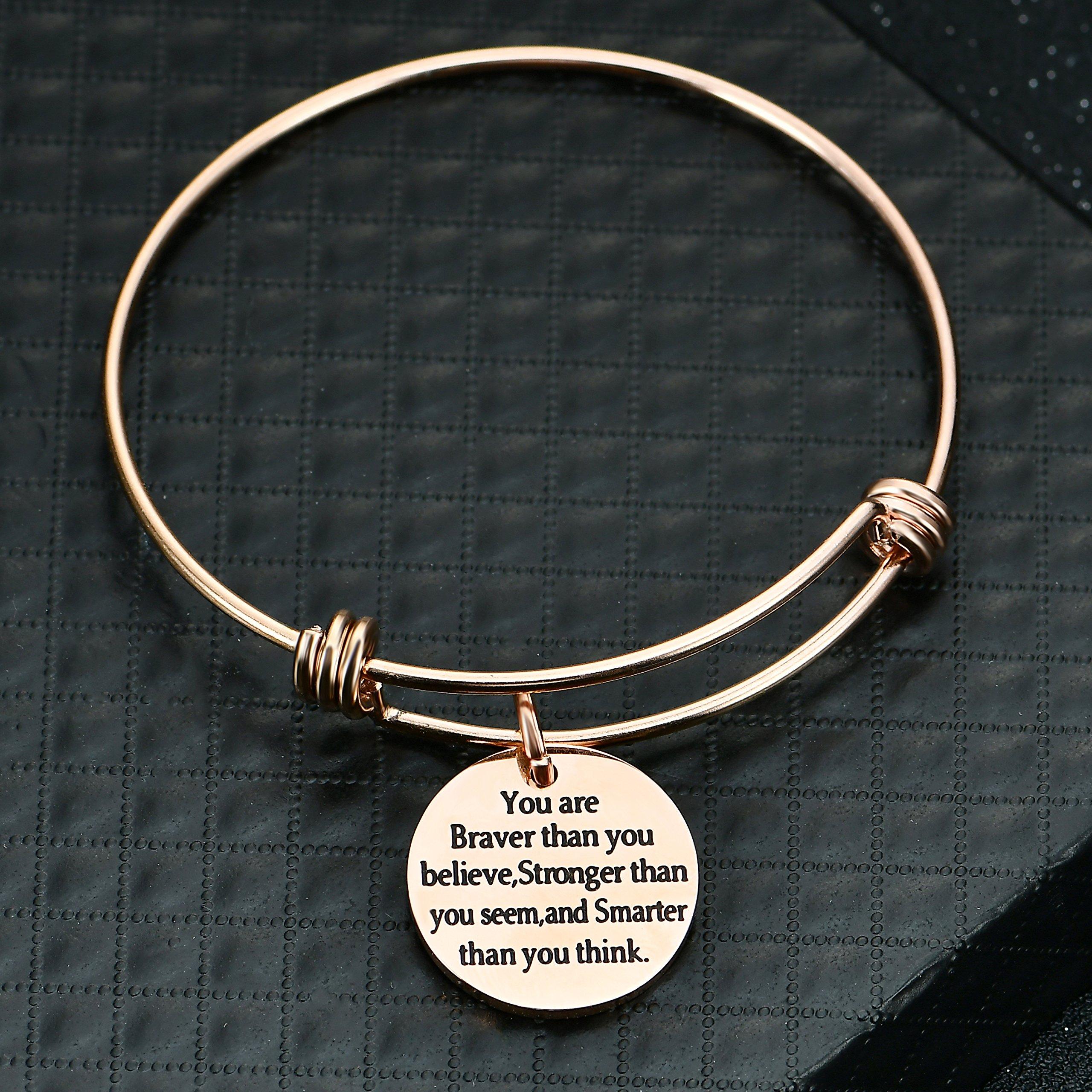 lauhonmin You are Braver Stronger Smarter than you think Inspirational Bracelet Expandable Bangle Gift for Women Men (Rose Gold Color Stainless Steel) by lauhonmin (Image #5)