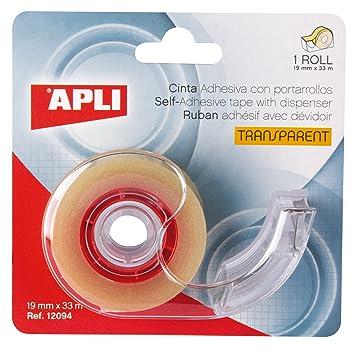 APLI 12094 - Cinta adhesiva transparente (19 mm x 33 m) con dispensador: Amazon.es: Oficina y papelería