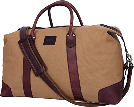 20 Leather Canvas Duffle Bag Gym Sports Overnight Weekend Bag for Women and Men