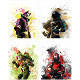 Popular Battle Royale Survivor Video Game | Set of Four (8 inches x 10 inches) Posters and Prints | Wall Art Gifts Fort | Set 1