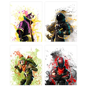 Insire Popular Battle Royale Survivor Video Game | Set of Four (8 inches x 10 inches) Posters and Prints | Wall Art Gifts Fort | Set 1